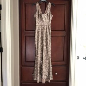 gold formal long dress, size small